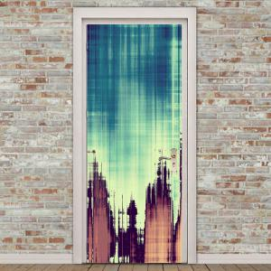 Vintage Plank Printed Decorative Door Stickers -