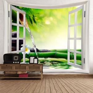 Window Running Water Bamboo Printed Wall Art Tapestry -