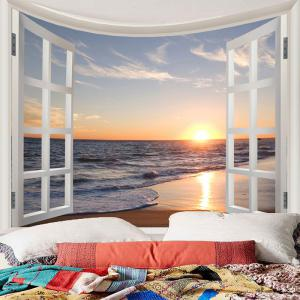 Window Scenery Sunset Sea Beach Print Wall Tapestry -