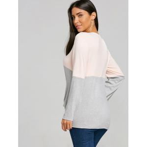 Color Block Twist Front Long Sleeve Top -
