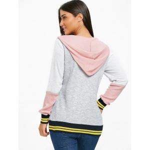 Stripe Trimmed Color Block Hoodie -