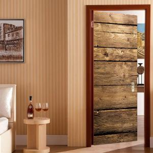 Woodgrain Pattern Door Cover Stickers -