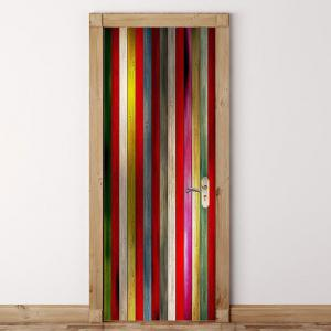 Colorful Woodgrain Pattern Door Cover Stickers -