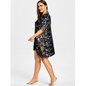 Plus Size Batwing Sleeve Floral Beach Cover Ups -