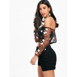 Mesh Embroidered Off The Shoulder Crop Top -