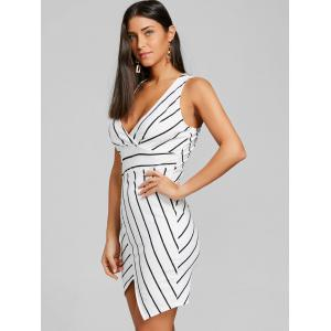 Striped V-neck Asymmetric Dress -