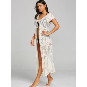 Sheer Lace Embroidery Beach Cover Up -