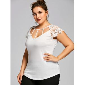 Plus Size Lace Panel Cutwork T-shirt -