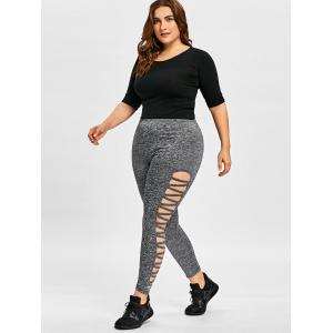 Plus Size Sides Ladder Cut Out Leggings -