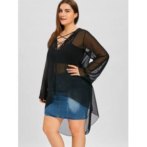 Plus Size High Low Lace Up Sheer Blouse -