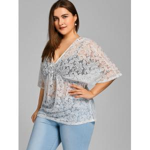 Batwing Sleeve Plus Size Sheer Lace Blouse -