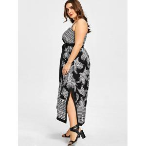 Stripe Floral Plus Size Slip Dress -