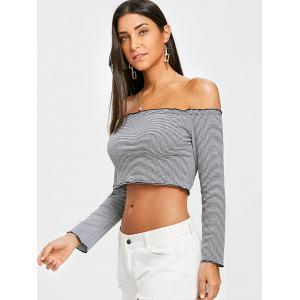 Off The Shoulder Long Sleeve Striped Crop Top -
