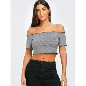 Off The Shoulder Striped Cropped T-shirt -