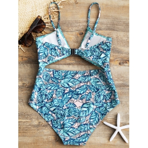 Leaf Print One Piece Cut Out Swimsuit -