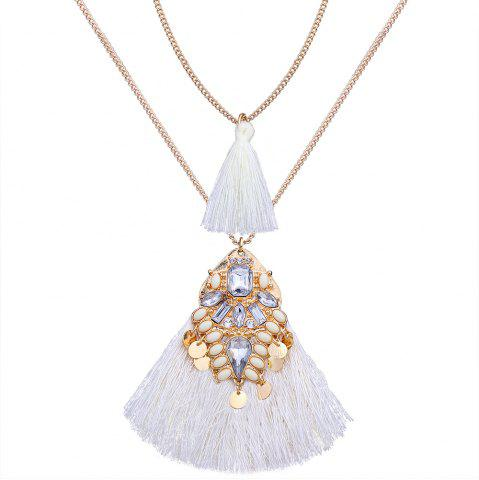 Cheap Artificial Crystal Disc Tassel Layered Necklace