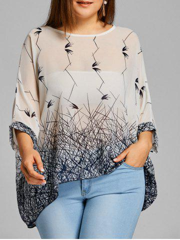 Store Graphic Batwing Sleeve Plus Size Chiffon Blouse