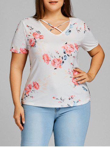 Hot Rose Plus Size Caged Cutout T-shirt