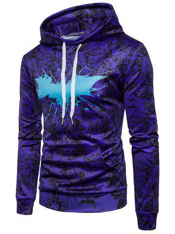 Cheap Anime Print Paint Splatter Hoodie