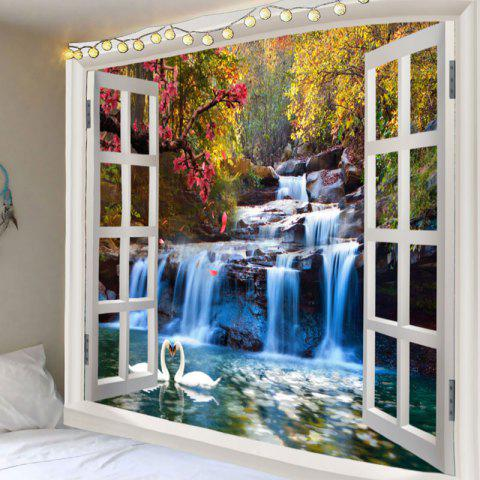Latest Swan Lake Mountain Waterfall Print Wall Art Tapestry