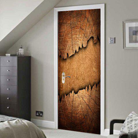 Hot Broken Wood Board Print Decorative Door Stickers