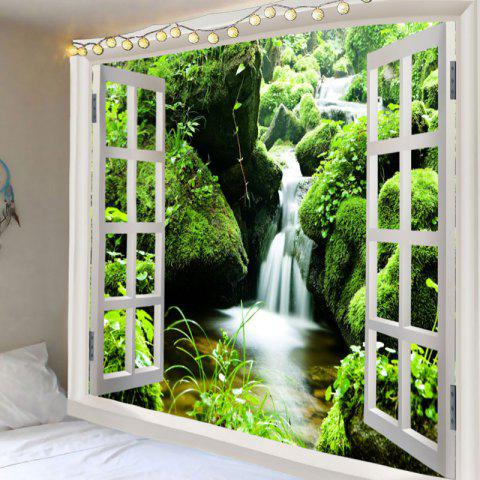 Affordable 3D Window Moss Spring Water Print Wall Hanging Tapestry