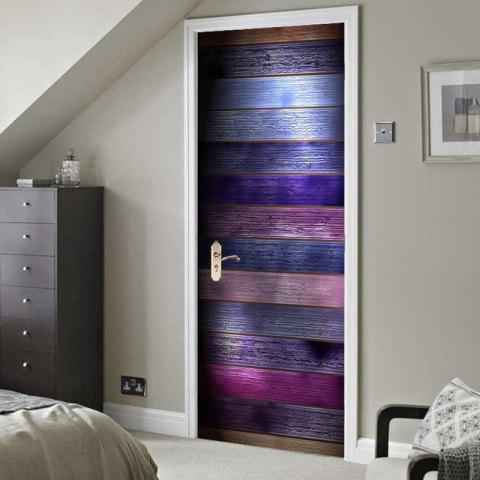 Hot colorful wood grain print door stickers