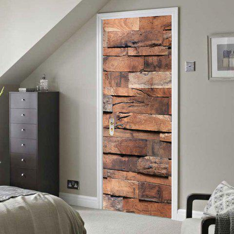 Best Wood-grained Plank Print Door Stickers