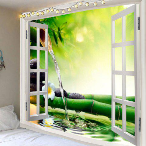 New Window Running Water Bamboo Printed Wall Art Tapestry