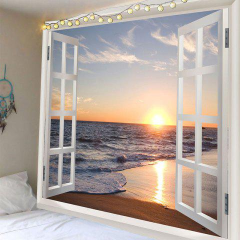 Unique Window Scenery Sunset Sea Beach Print Wall Tapestry