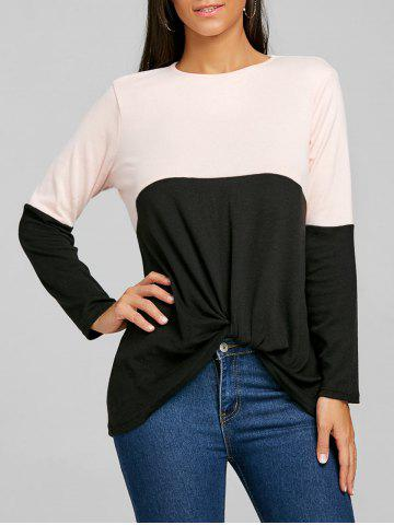 Latest Color Block Twist Front Long Sleeve Top