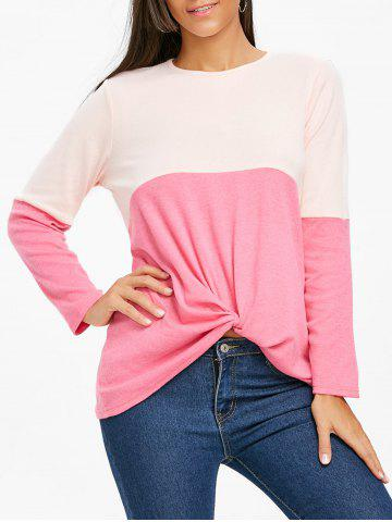 Cheap Color Block Twist Front Long Sleeve Top