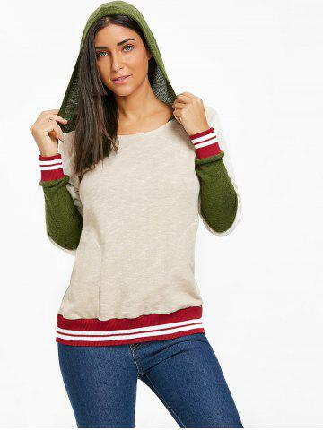 Fashion Stripe Trimmed Color Block Hoodie