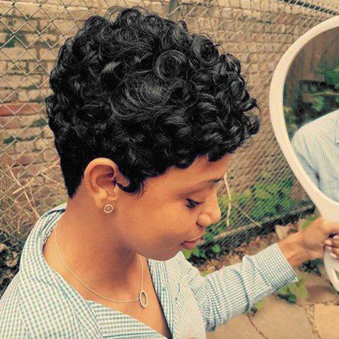 Latest Short Inclined Bang Fluffy Textured Curly Human Hair Wig