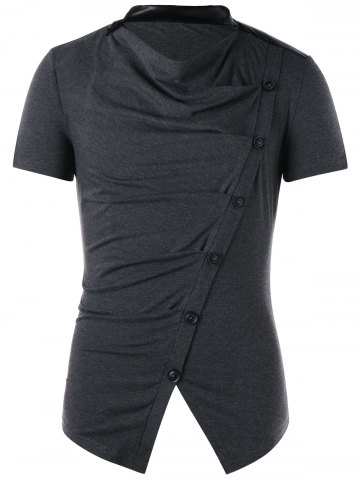 Sale Button Design Cowl Neck T-shirt