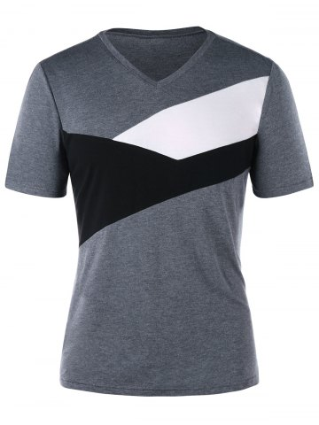 Chic V Neck Form Fitting T-shirt
