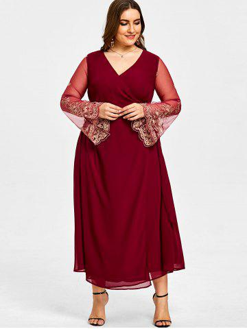 Plus Size Sheer Sleeve High Slit Surplice Dress