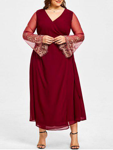 Cheap Plus Size Sheer Sleeve High Slit Surplice Dress