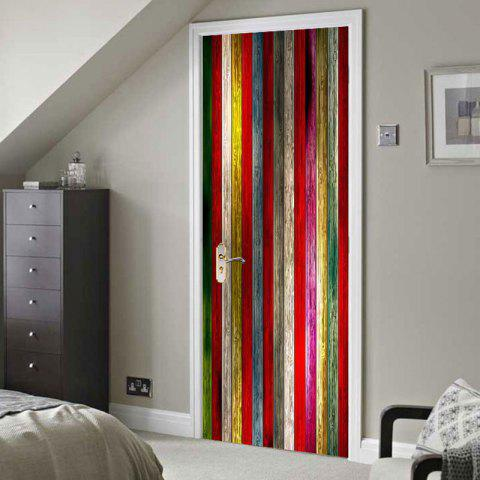 New Colorful Woodgrain Pattern Door Cover Stickers