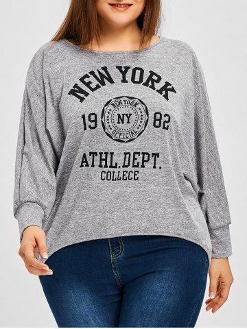 Shops Plus Size Heather Letter Print Batwing Sleeve T-shirt
