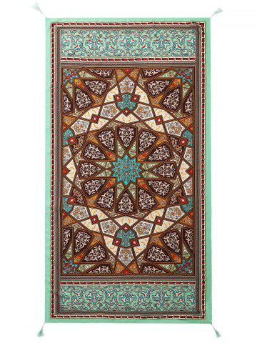Serviette de Plage Rectangle Ethnique Géométrique à Glands