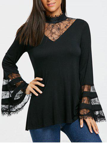 Affordable Flare Sleeve Lace Trim Mock Neck Blouse