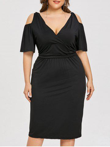Trendy Plus Size Open Shoulder Low Cut Dress