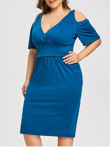 Fancy Plus Size Open Shoulder Low Cut Dress