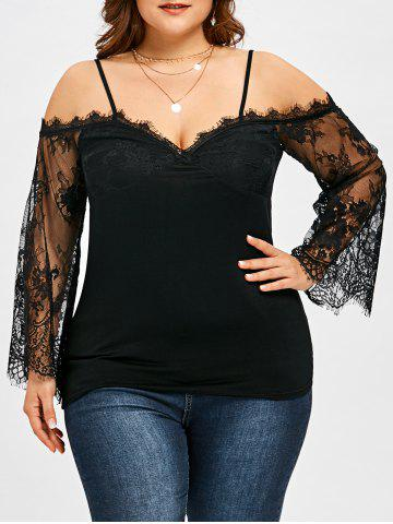 Discount Plus Size Lace Trim Bell Sleeve Blouse