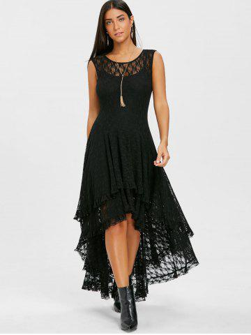 Tiered Lace High Low Dress