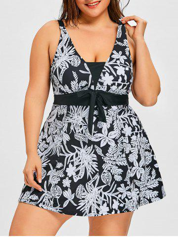 Unique Flower Print Plus Size One Piece Swimdress