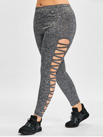 Discount Plus Size Sides Ladder Cut Out Leggings