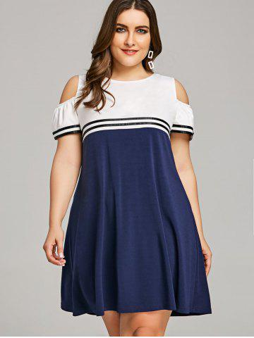-55% Plus Size Casual Cold Shoulder Dress