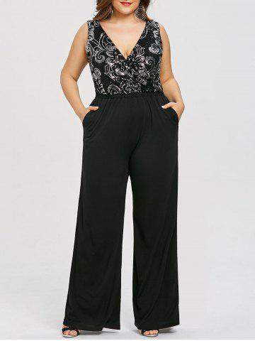 Discount Plus Size Glittery Sleeveless Plunging Palazzo Jumpsuit